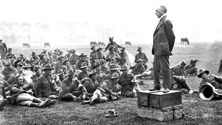 Billy Hughes addressing the troops