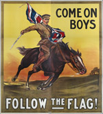 ['Come on boys: Follow the flag.' An old military poster]